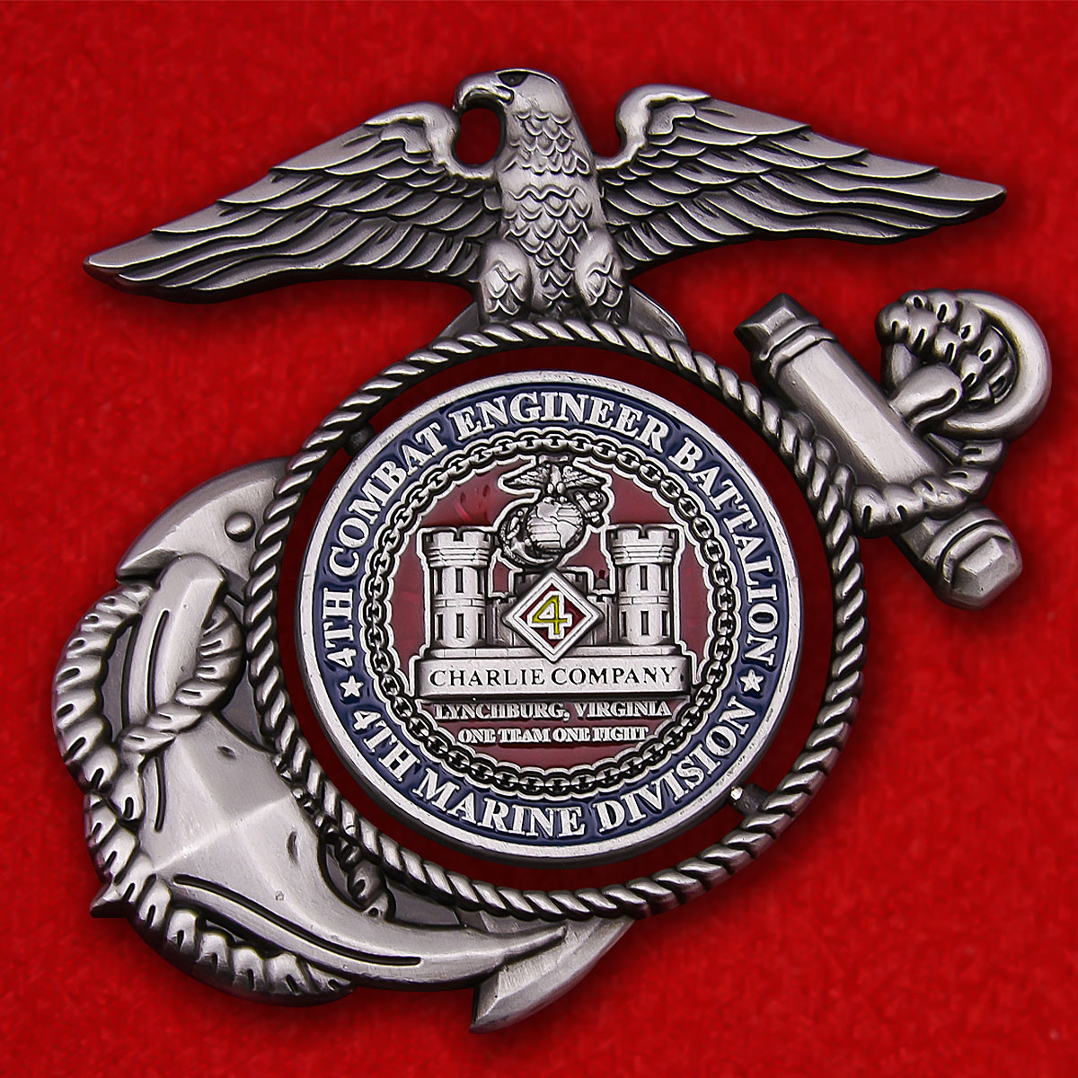 US Marine Corps 4th Combat Engineer Battalion 4th Marine Division Charlie Company Challenge Coin