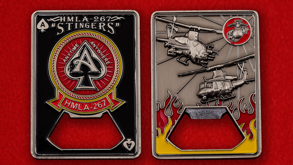 "US Marine Corps HMLA-267 ""Stingers"" Challenge Coin - both sides"