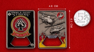 "US Marine Corps HMLA-267 ""Stingers"" Challenge Coin - linear size"