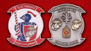 "US Marine Corps Medium Tiltrotor Squadron 365 ""Blue Knights"" Challenge Coin"