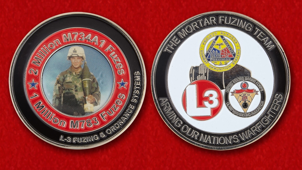 US Marine Corps The Mortar Fusing Team L3 Challenge Coin - both sides