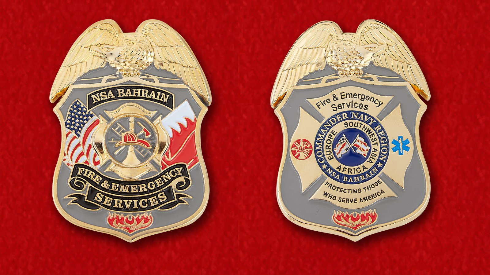 US Navy NSA Bahrain Fire & Emergency Services Challenge Coin