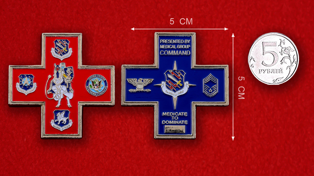 US Northern Command 21st Medical Group Challenge Coin - linear size