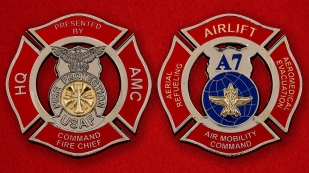 USAF Fire Protection Air Mobility Command Challenge Coin - both sides