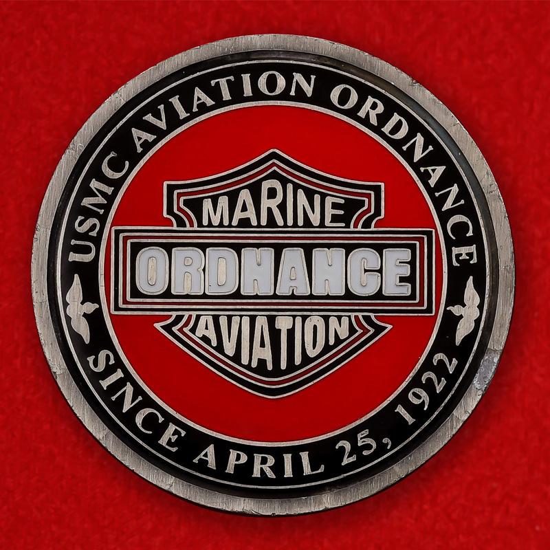 USMC Marine Aviation Ordnance Challenge Coin - obverse