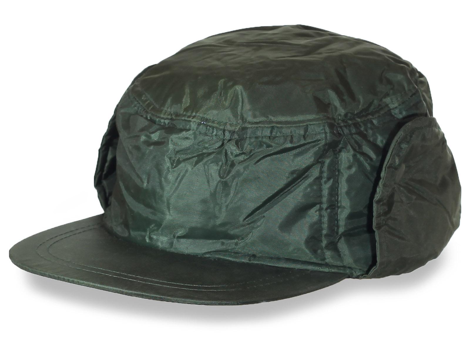 Утепленная шапка  осенняя темного цвета