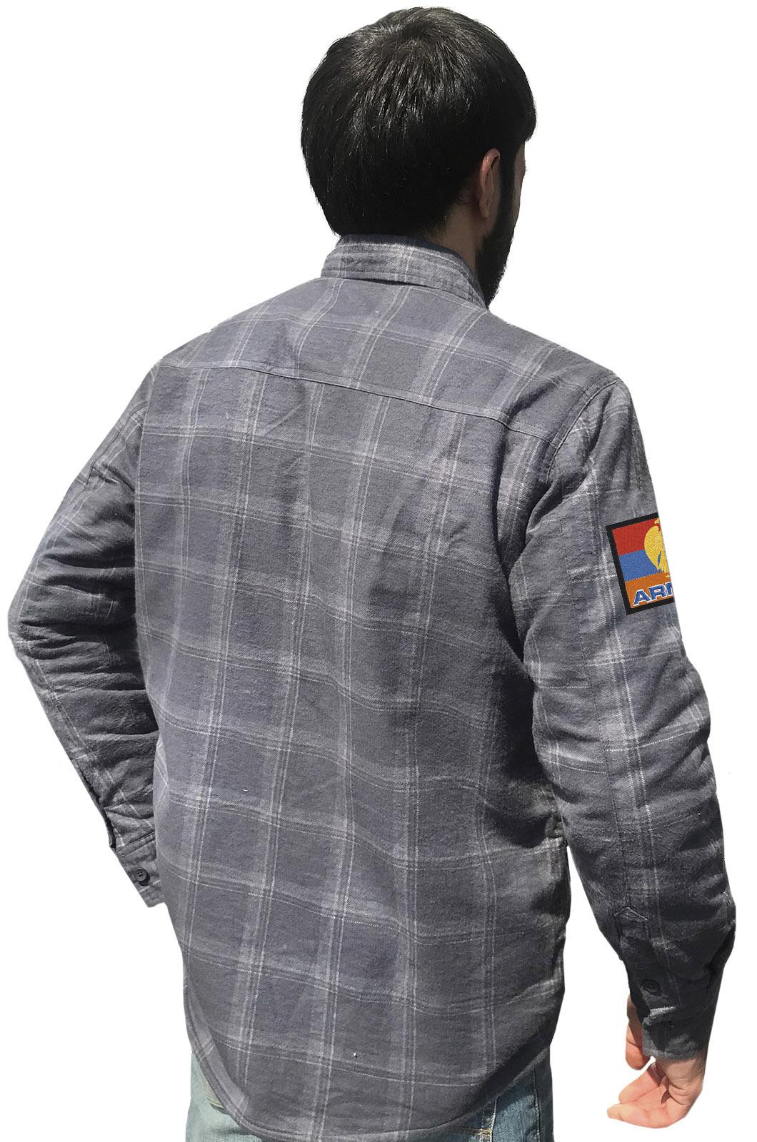Купить утепленную мужскую рубашку с вышитым флагом Армении по низкой цене