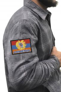 Утепленная мужская рубашка с вышитым флагом Армении - заказать с доставкой