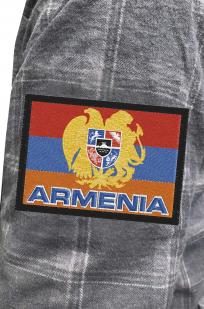 Утепленная мужская рубашка с вышитым флагом Армении - заказать по низкой цене