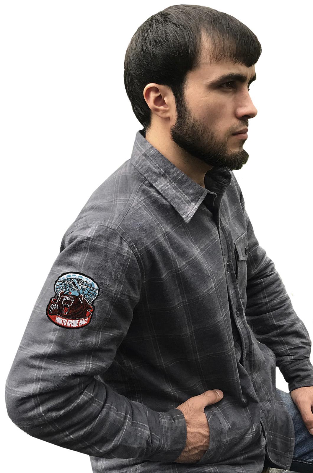 Утепленная мужская рубашка с вышитым шевроном ВДВ Медведь