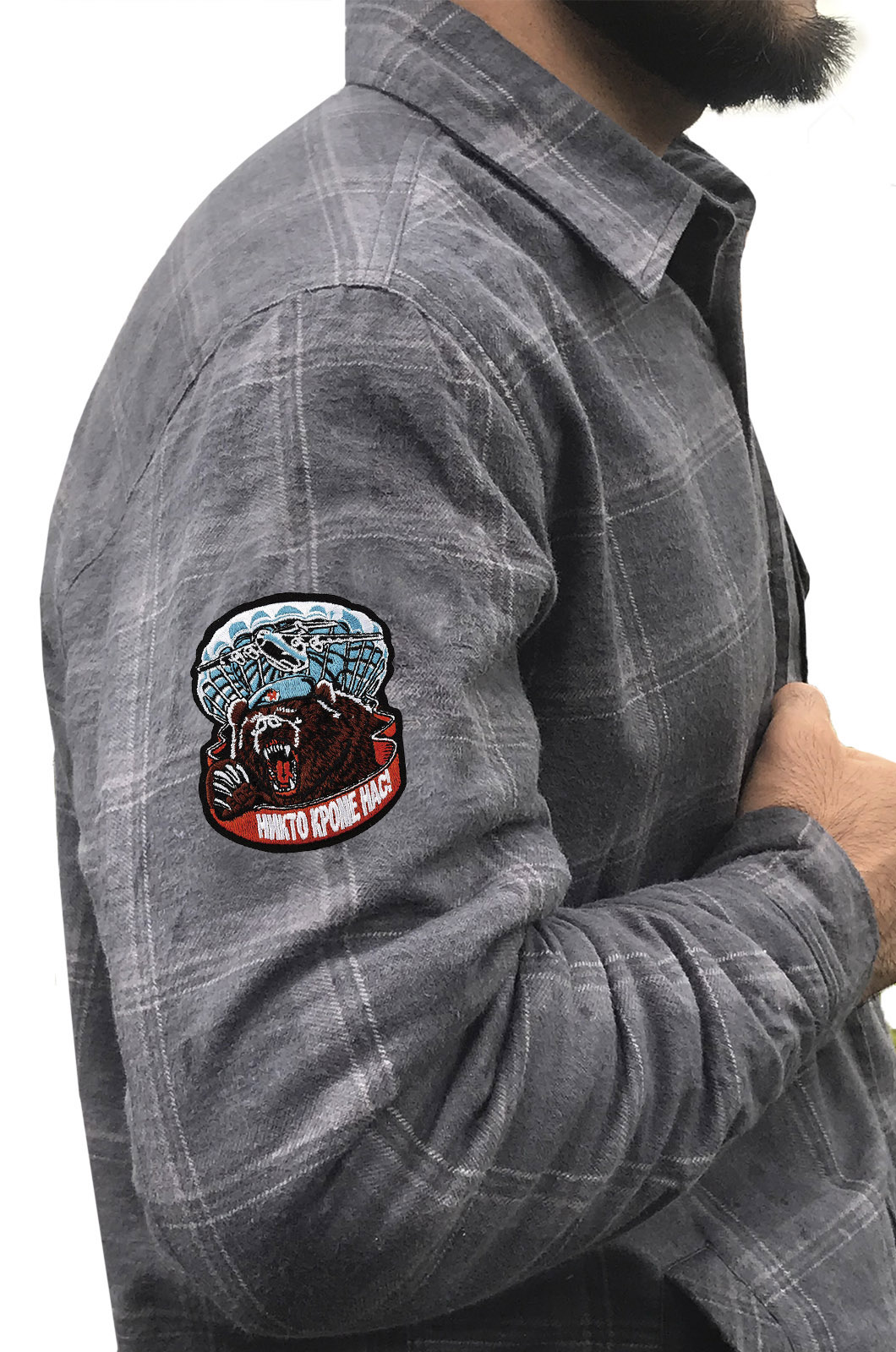 Утепленная мужская рубашка с вышитым шевроном ВДВ Медведь - купить в розницу