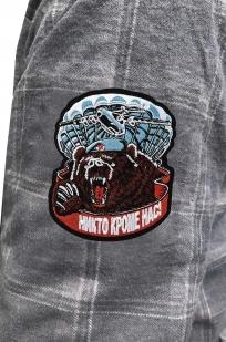 Утепленная мужская рубашка с вышитым шевроном ВДВ Медведь - купить в подарок