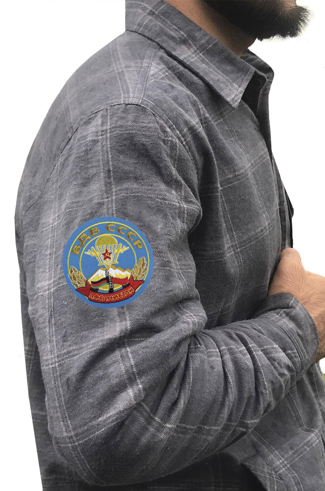 Утепленная рубашка с вышитым шевроном ВДВ СССР Афганистан - заказать оптом