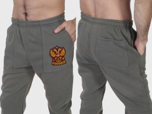 Утепленные мужские спортивные штаны с гербом России на флисе
