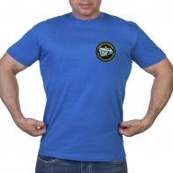 Васильковая футболка с нашивкой ТАВКР Адмирал Кузнецов