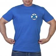 Васильковая футболка с нашивкой За ВМФ