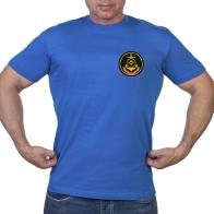 Васильковая футболка с шевроном Северного флота