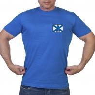 Васильковая футболка с шевроном За ВМФ