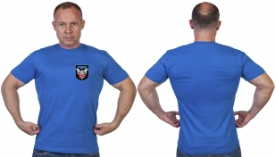 Васильковая футболка с термотрансфером ПВО