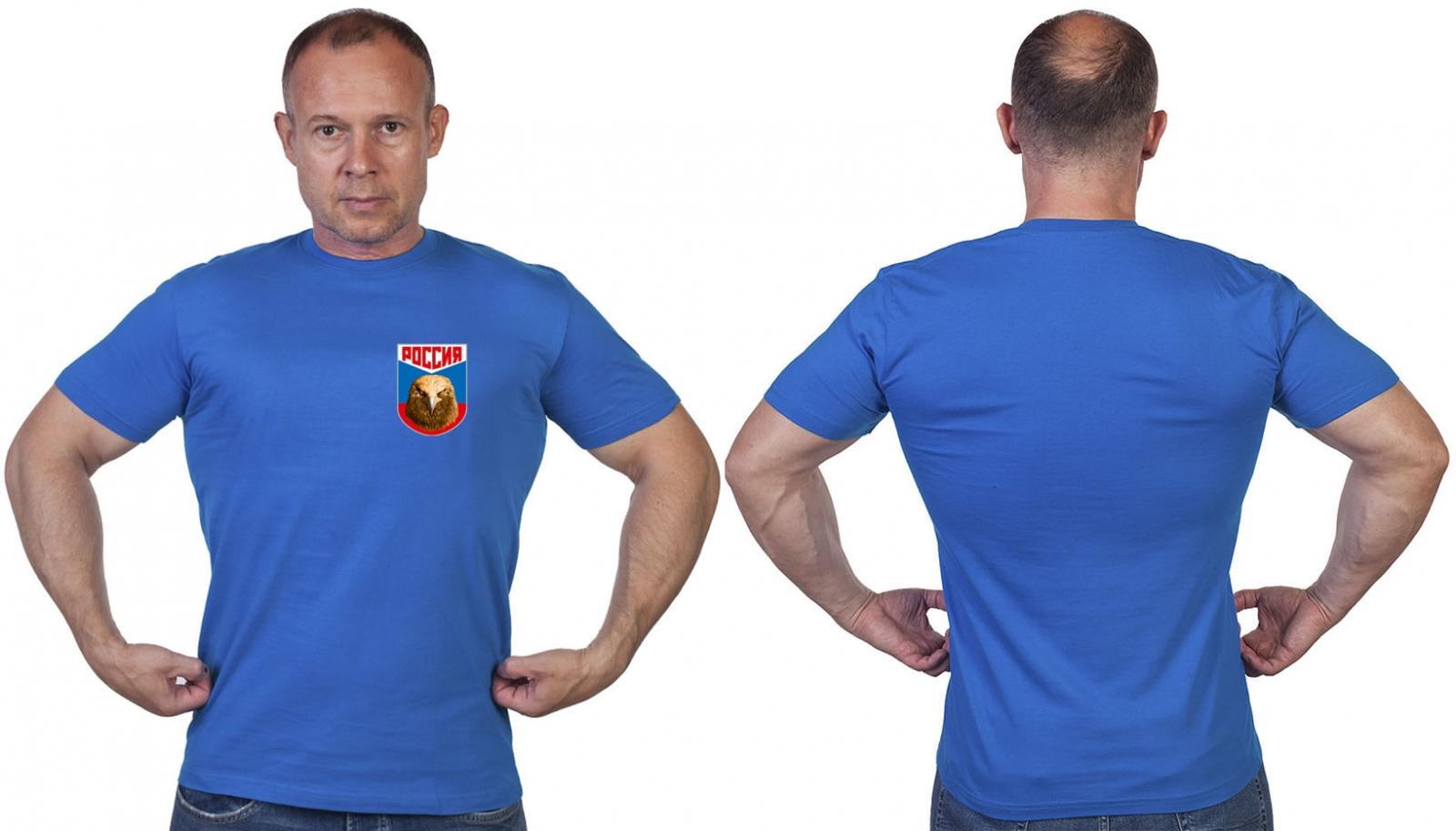 Васильковая футболка с термотрансфером Россия
