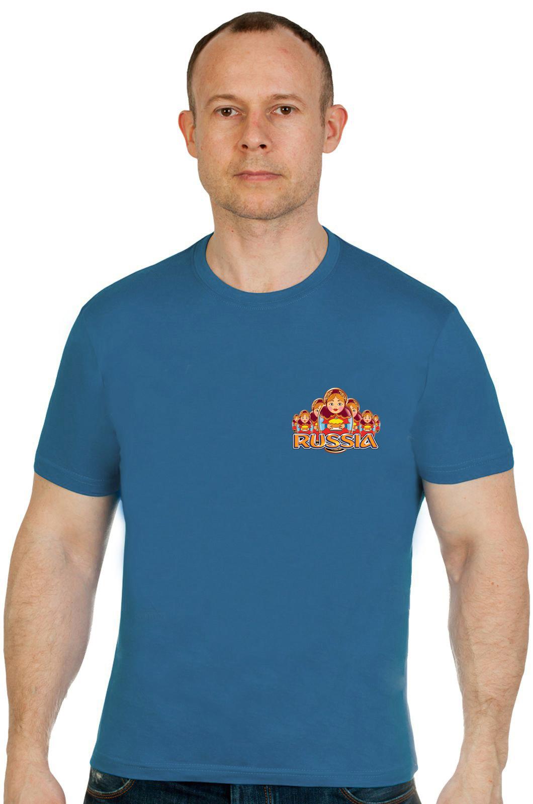 Купить великолепную футболку RUSSIA с матрешками по лучшей цене