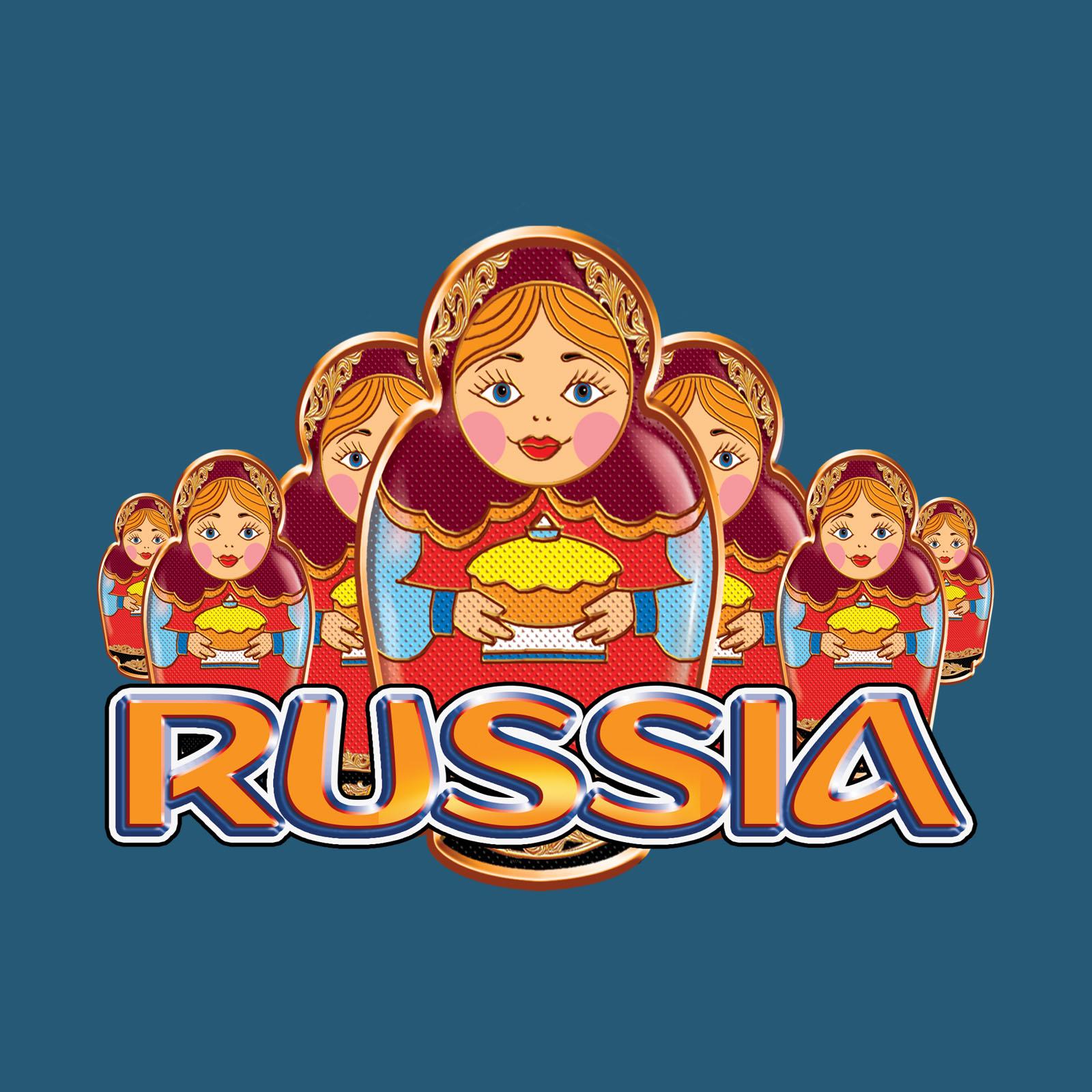 Великолепная футболка RUSSIA с матрешками.