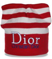 Великолепная женская шапка с ушками Dior в стильную полоску последний крик моды