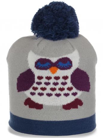 Веселенькая трикотажная женская шапка Сова очаровательный оригинальный молодежный аксессуар