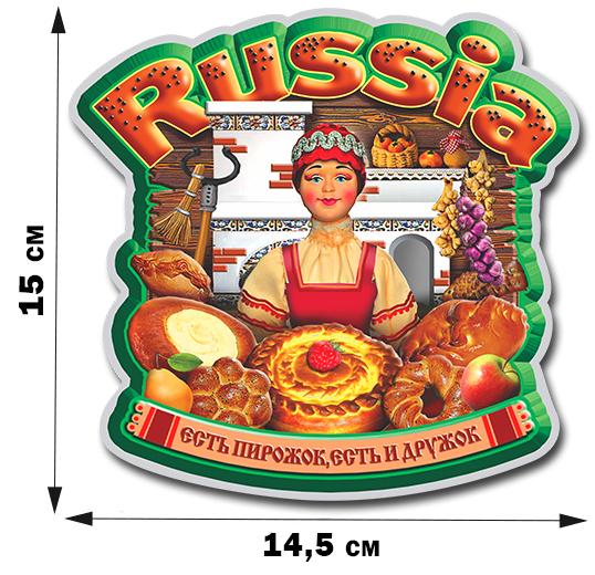 Виниловая наклейка на машину «Россия – есть пирожок, есть и дружок». Живые цвета, аппетитный принт, приятная цена!