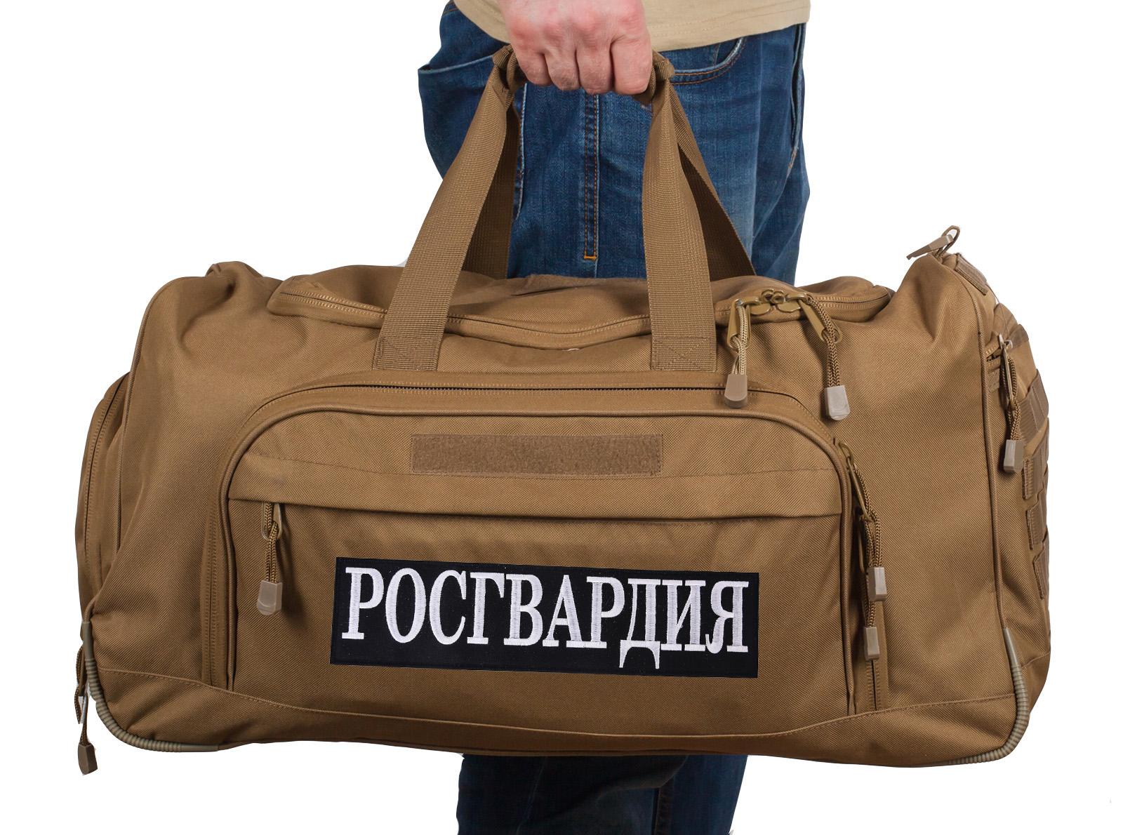 Купить вместительную походную сумку 08032B Coyote с нашивкой Росгвардия по лучшей цене