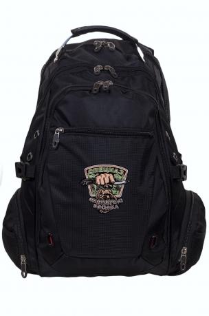Вместительный черный рюкзак с эмблемой Охотничьего спецназа