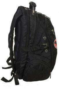Заказать вместительный черный рюкзак с эмблемой Осторожно страйкболист
