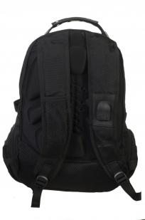 Вместительный черный рюкзак с эмблемой Осторожно страйкболист купить оптом