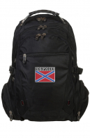 Вместительный черный рюкзак с шевроном НОВОРОССИЯ