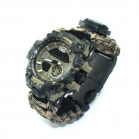 Водонепроницаемые часы EMAK в ударопрочном корпусе с браслетом выживания