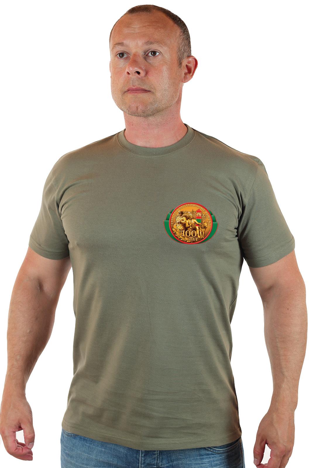 Мужская оливковая футболка с коротким рукавом и принтом ЗА ПОГРАНВОЙСКА