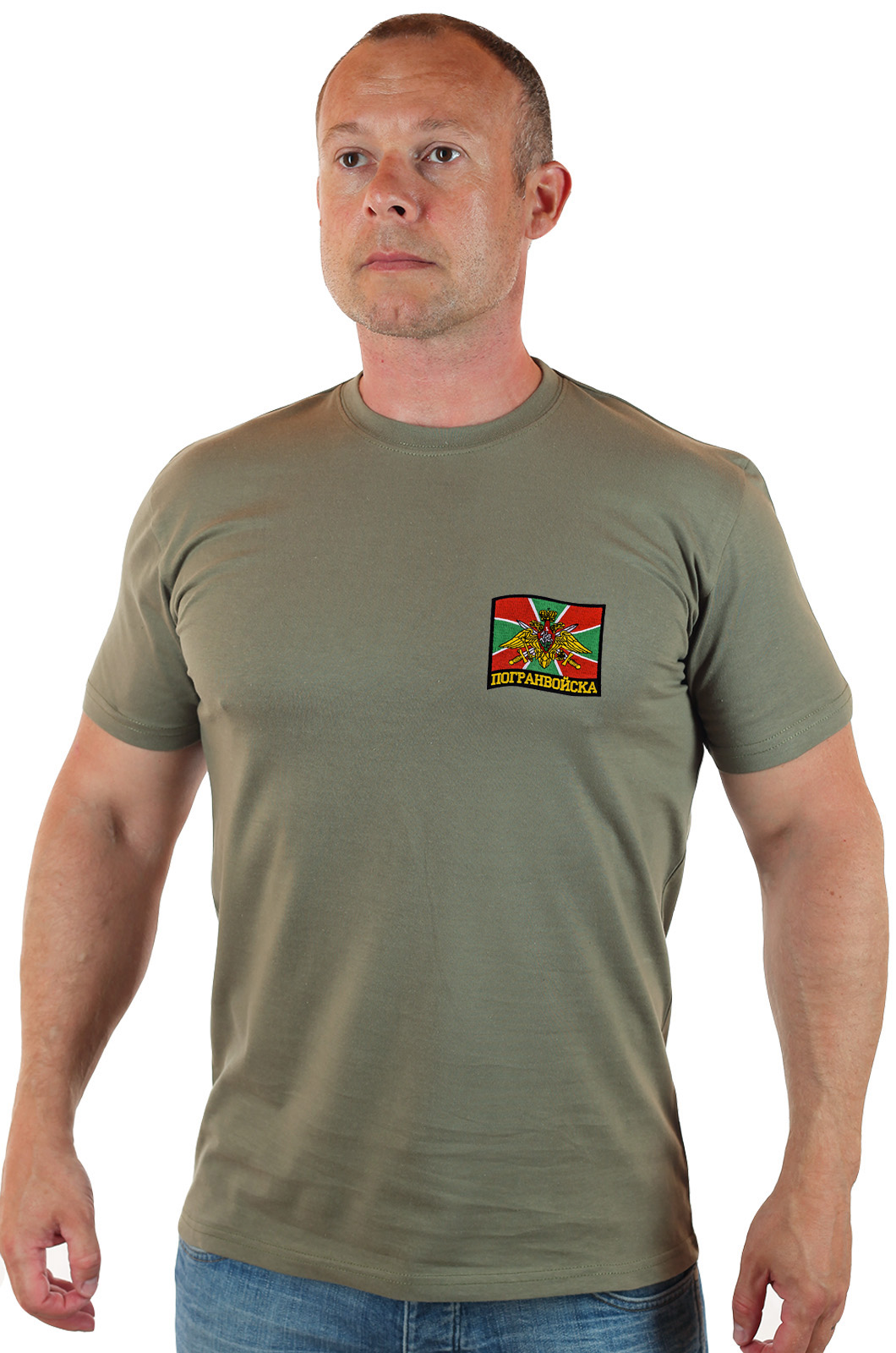 Купить на подарок пограничнику оливковую футболку с вышивкой Погранвойск