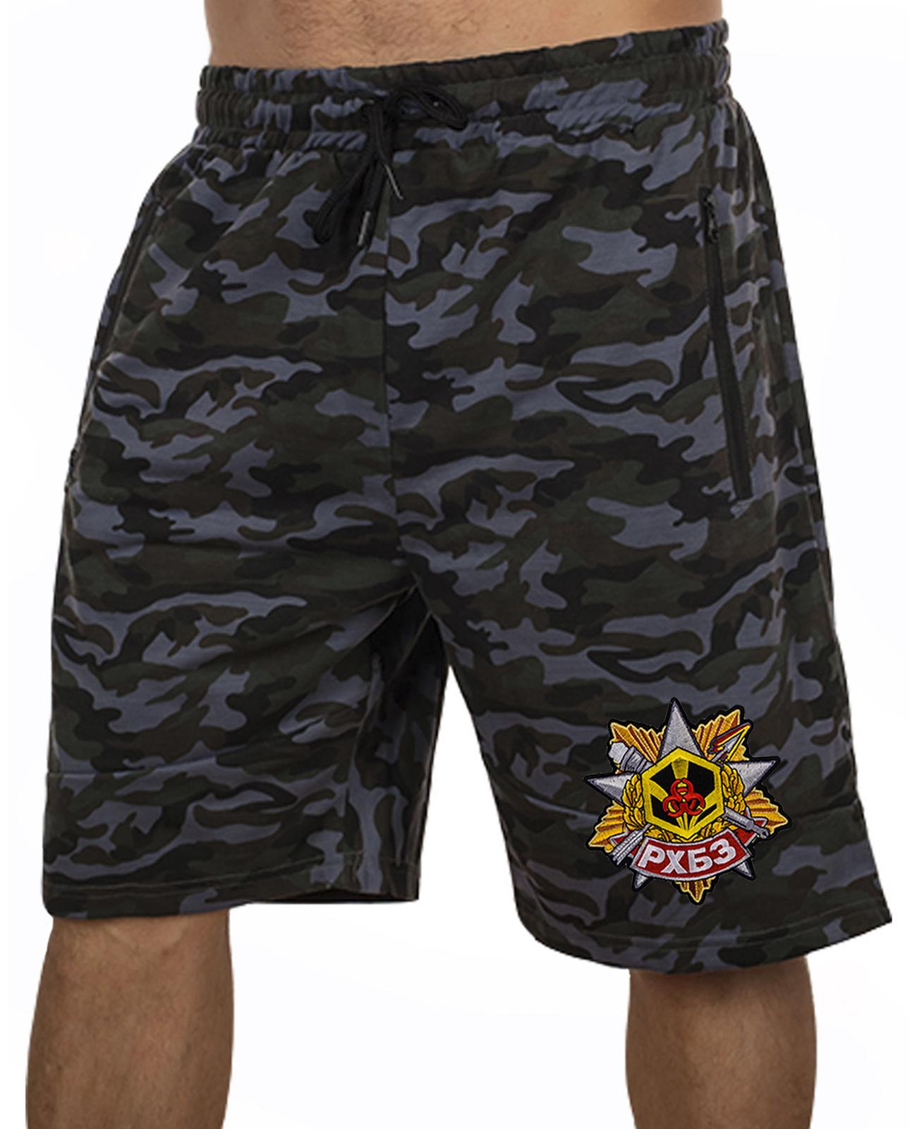 Купить военные камуфляжные шорты с нашивкой РХБЗ в подарок мужчине