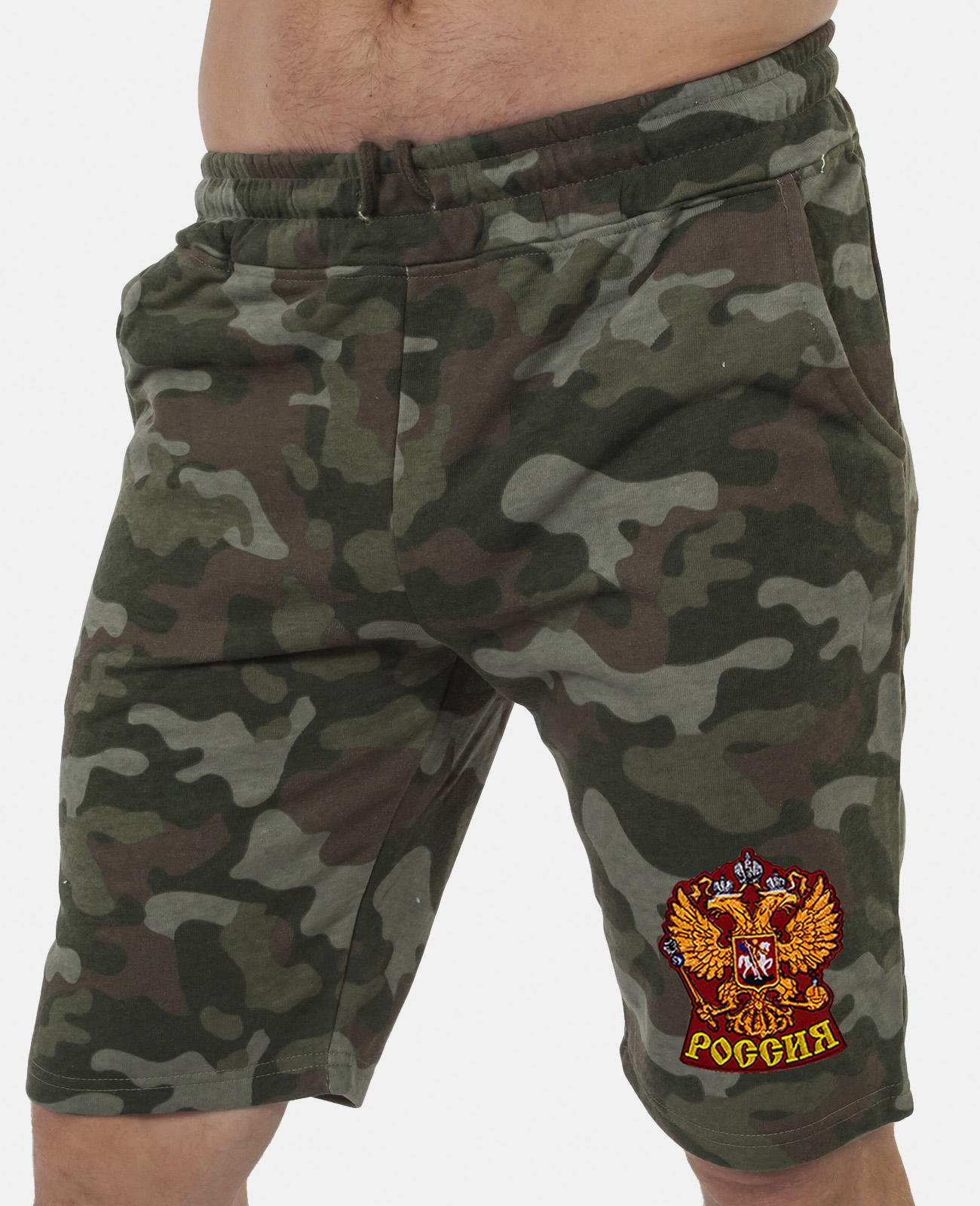 Военные милитари шорты с нашивкой Россия