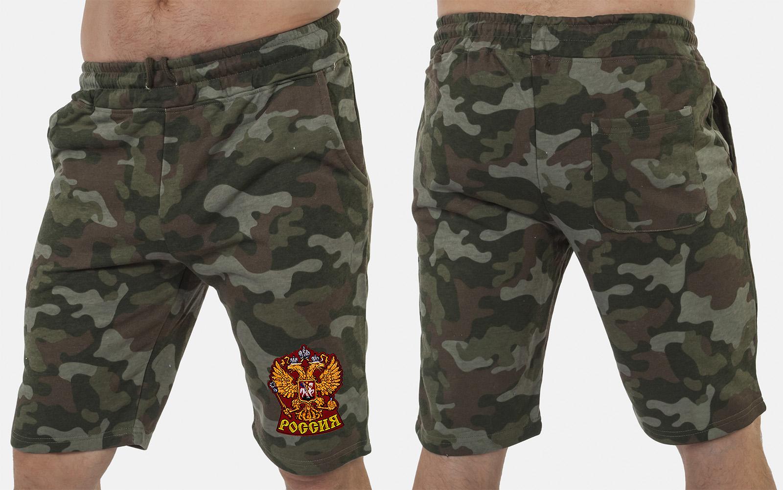 Военные милитари шорты с нашивкой Россия - купить онлайн