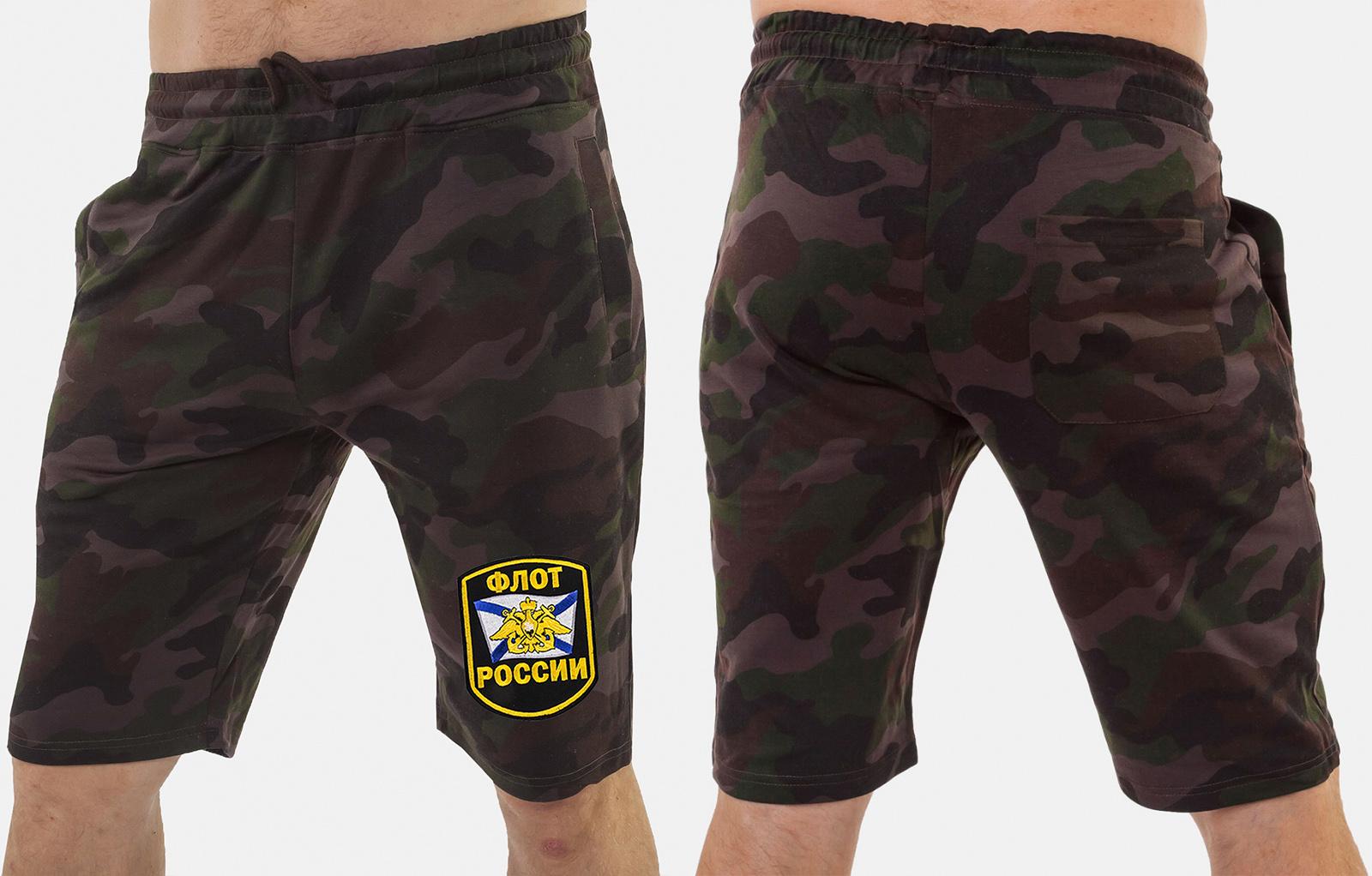 Военные мужские шорты с нашивкой Флот России - заказать в подарок