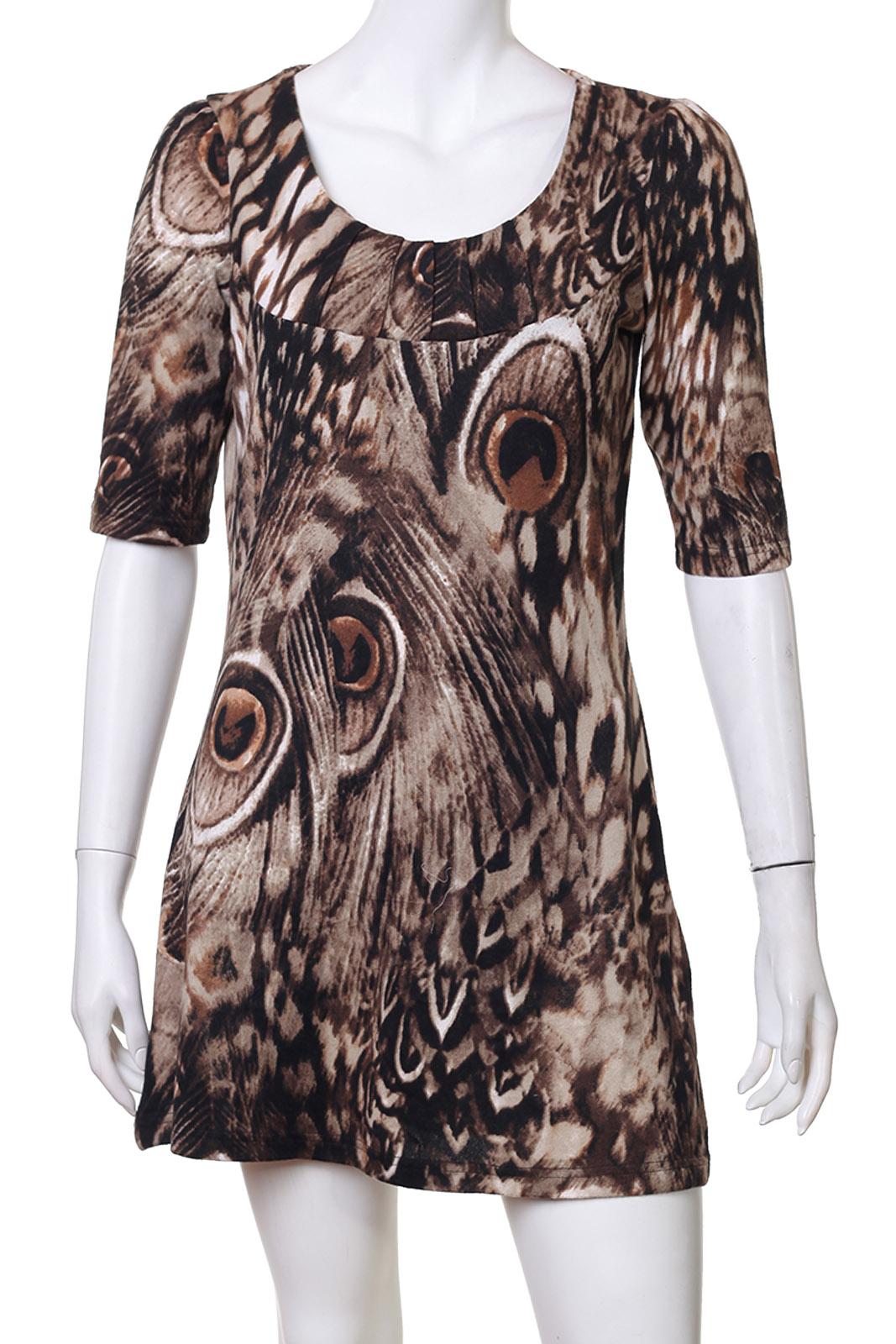 Восхитительное мини-платье с перьевым принтом