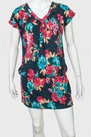 Восхитительное платье в цветочек с коротким рукавом
