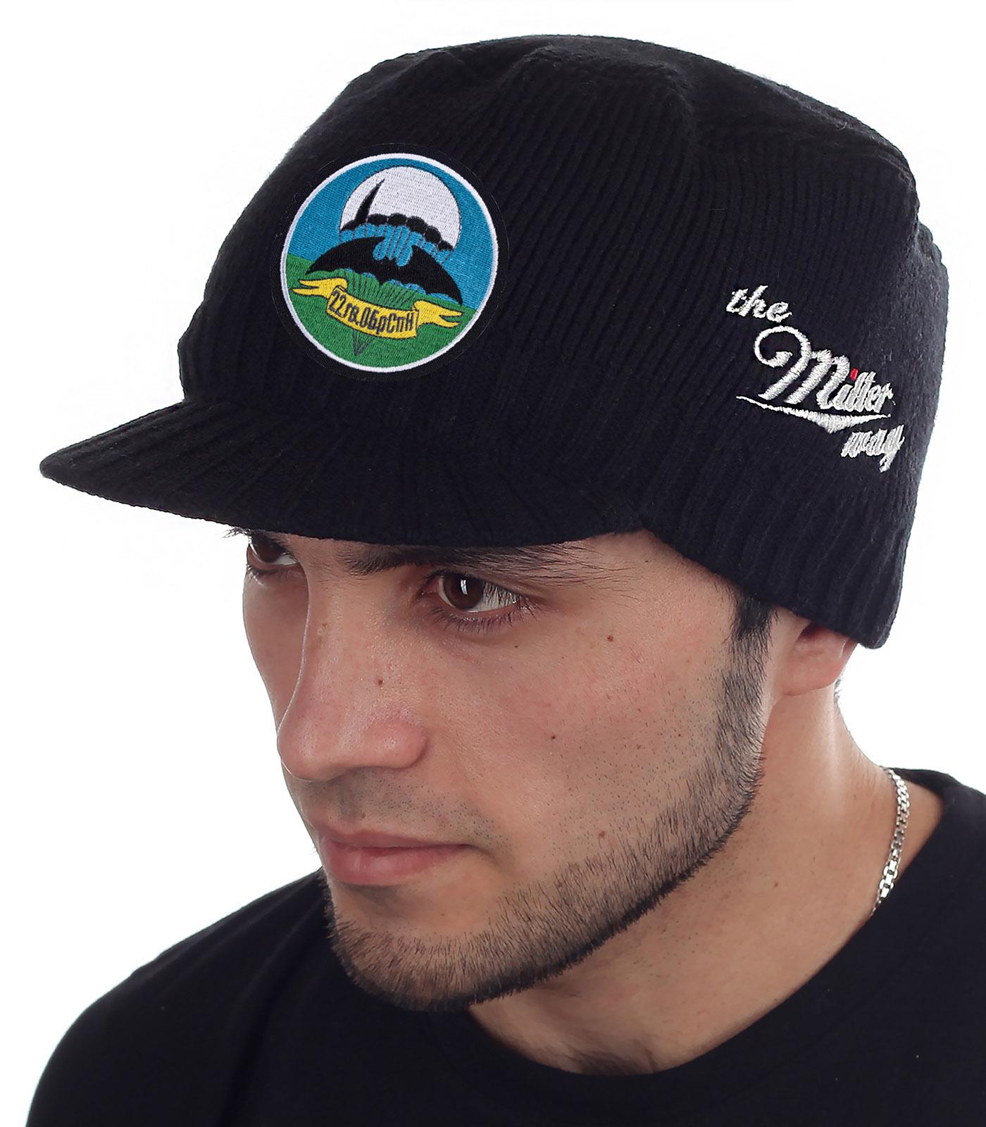 Вязаная мужская шапка с козырьком Miller Way  с удобной доставкой