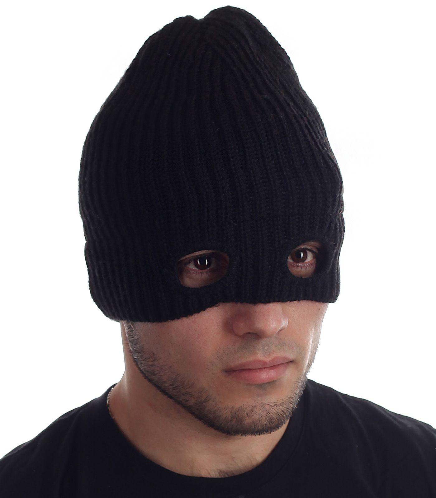 Вязаная шапка-маска из флиса