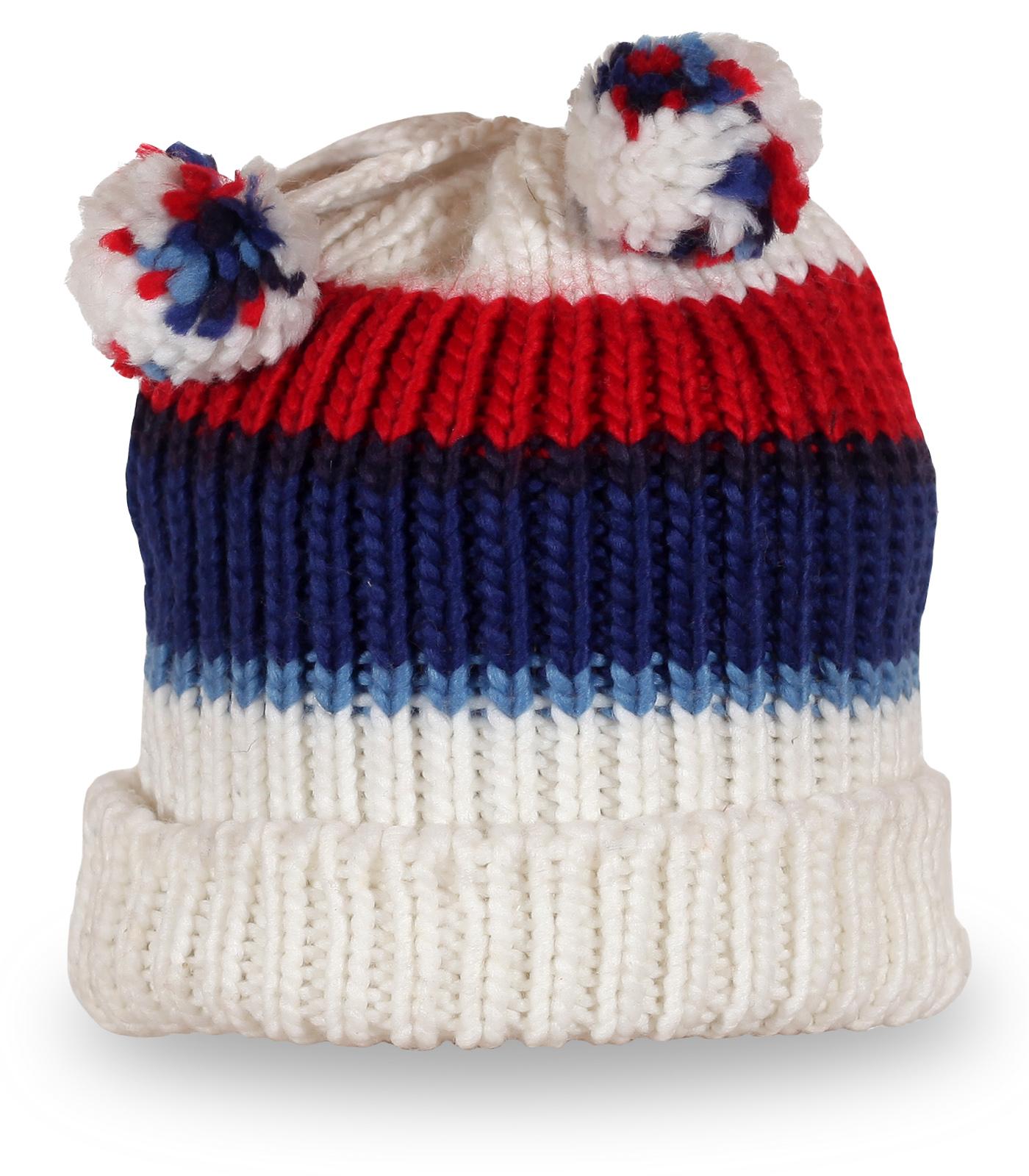 Вязаная шапка с помпонами бело-сине-красного цвета
