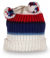Вязаная шапка с бубонами в цветах флага России. Ты патриот? Заказывай!