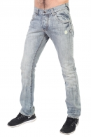 Выбеленные мужские джинсы на пуговицах