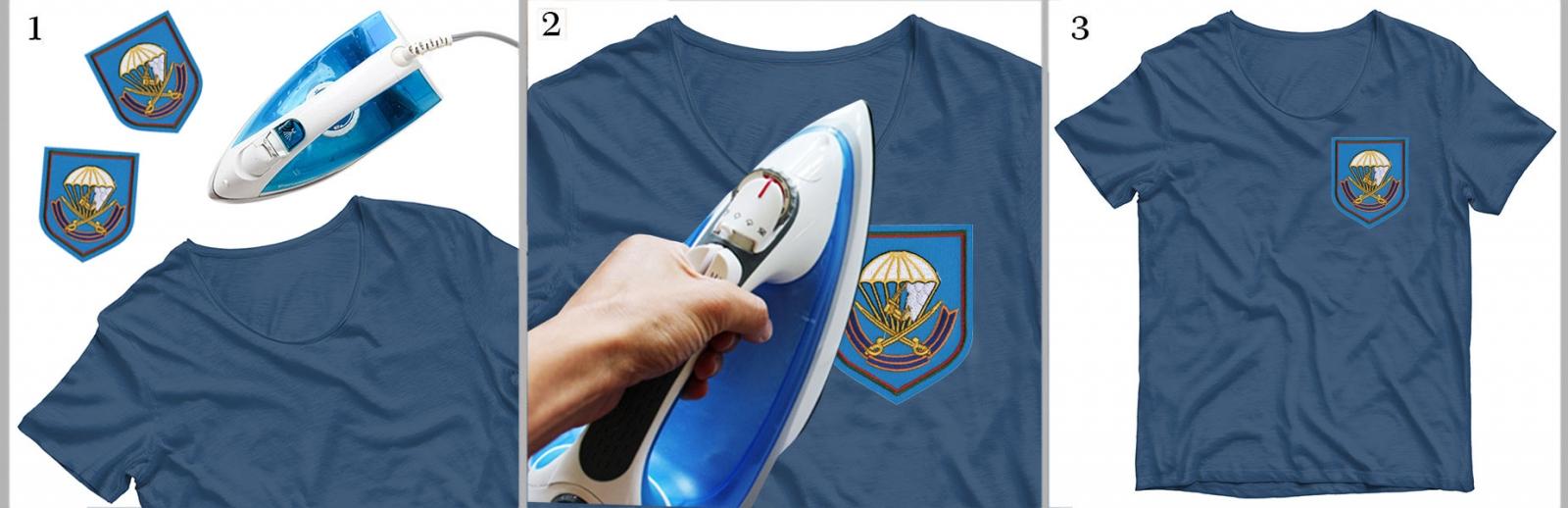 Вышитая эмблема 217 ПДП ВДВ на футболке