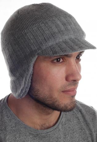 Высококачественная шерстяная утепленная мужская шапка Barts с ушками и козырьком